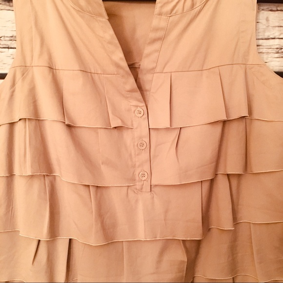 Alfani Ruffled Dress. Khaki. Size 12